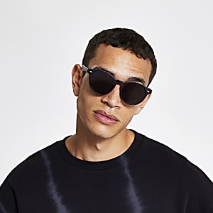 Black matte preppy round sunglasses