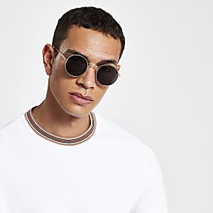 Goudkleurige revo zonnebril met ronde glazen