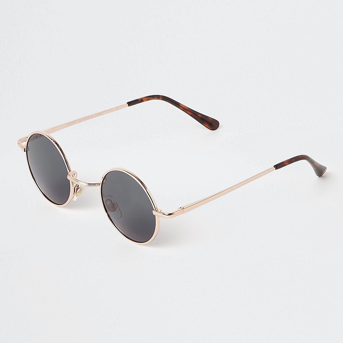 Zonnebril Met Kleine Ronde Glazen.Gold Tone Small Round Smoke Lens Sunglasses