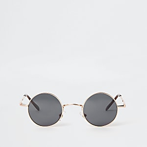 aa1481ccf911 Gold tone small round smoke lens sunglasses