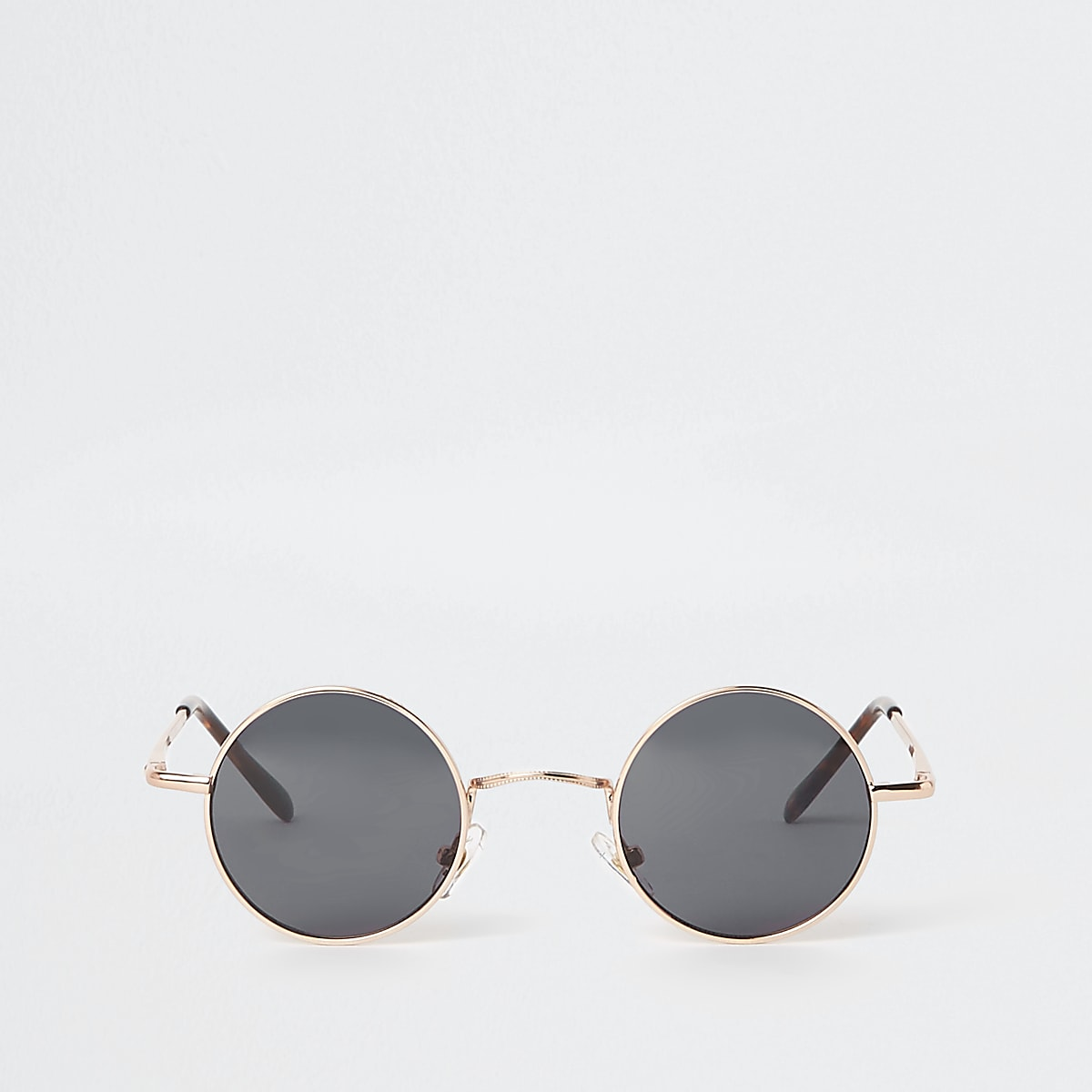 Gold tone small round smoke lens sunglasses