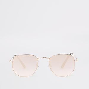 Roségoudkleurige revo zeshoekige zonnebril