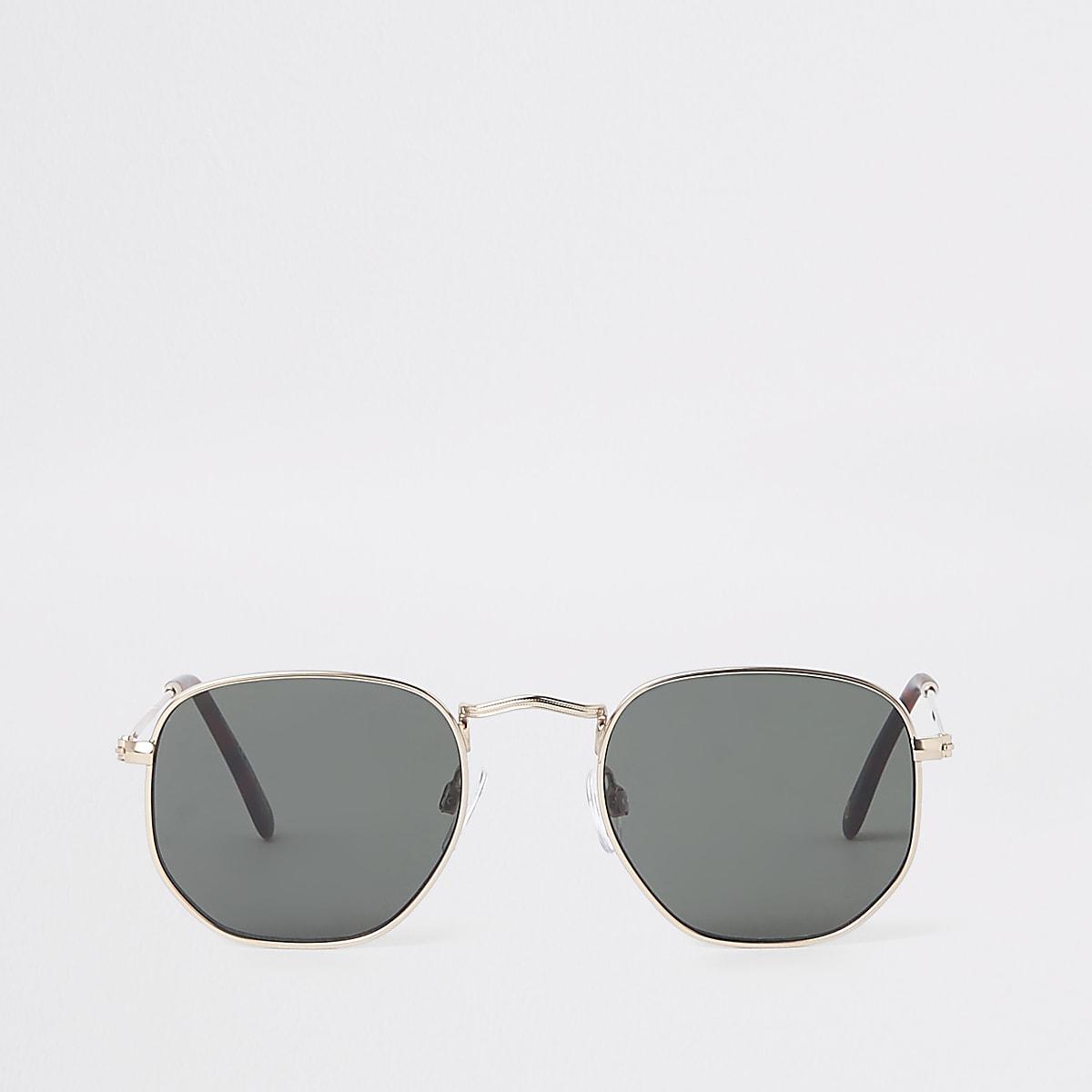 Gold tone black lens hex sunglasses