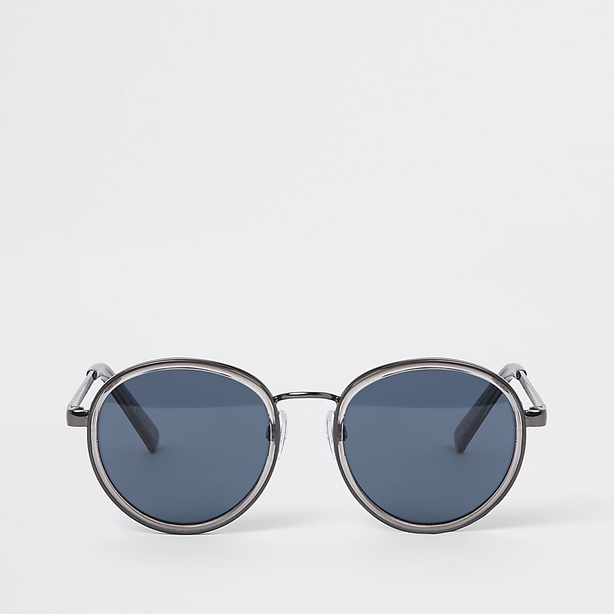 Grey blue lens round sunglasses