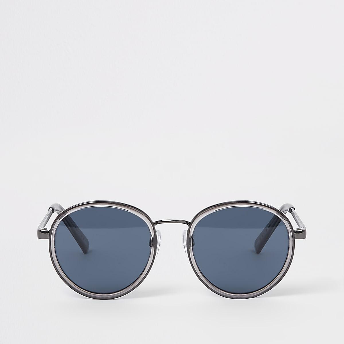 Lunettes de soleil rondes grises à verres bleus