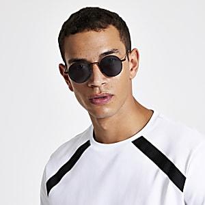 Zwarte ronde zonnebril met getinte glazen