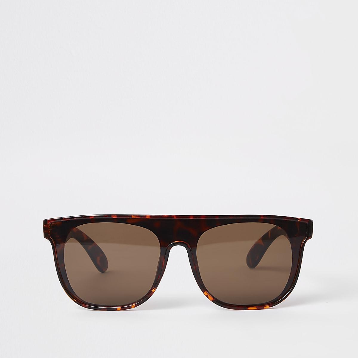 Lunettes de soleil masque motif écaille de tortue marron