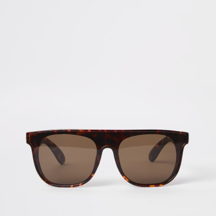 Brown tortoise shell visor sunglasses