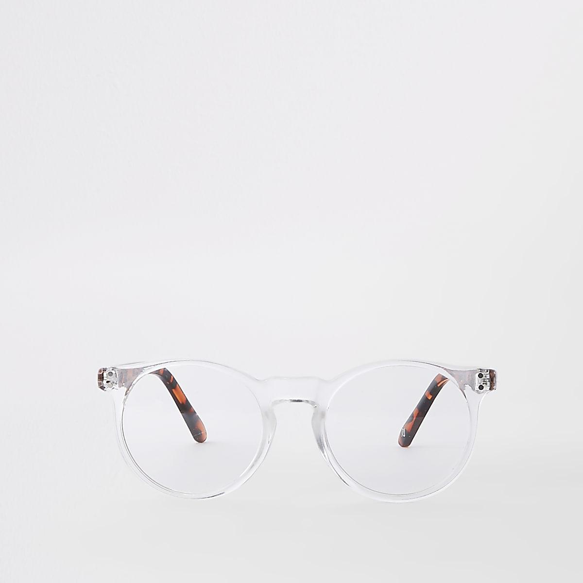 Lunettes rondes preppy transparentes