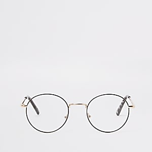 Gold tone round clear lens glasses