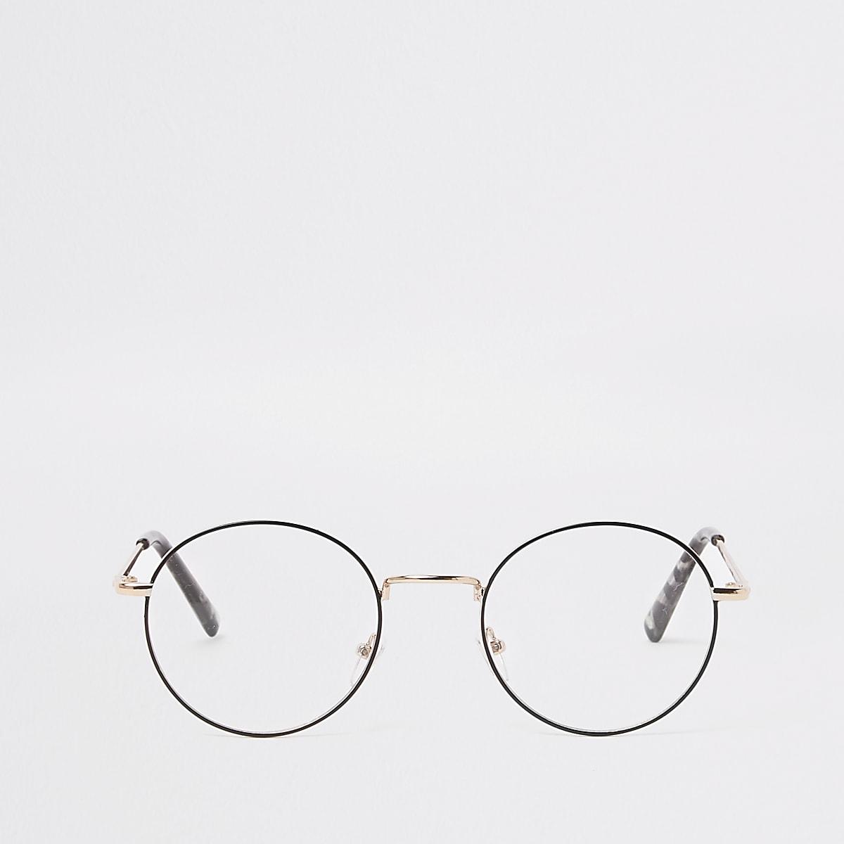 Goldfarbene, runde Brille
