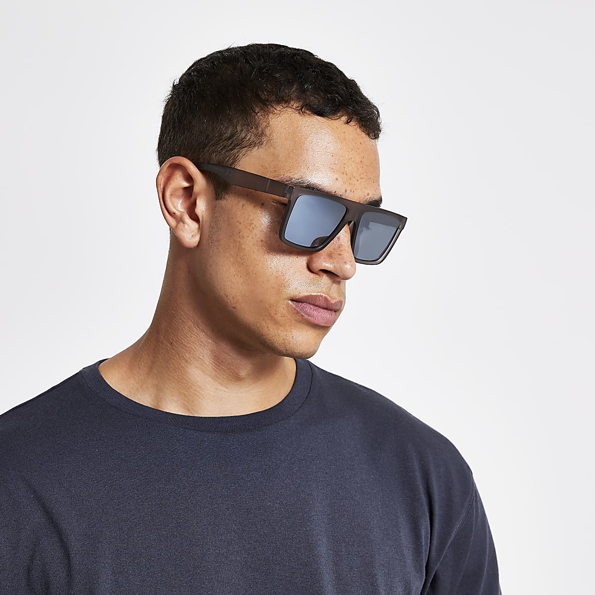 Matte grey D frame sunglasses