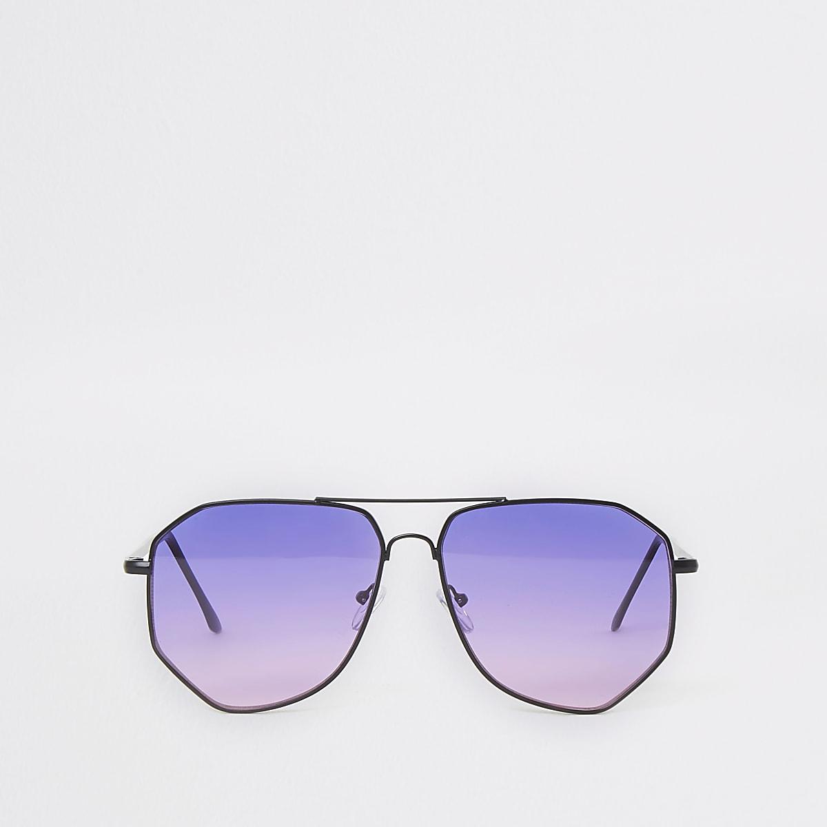 Pilotensonnenbrille mit Gläsern in Lila