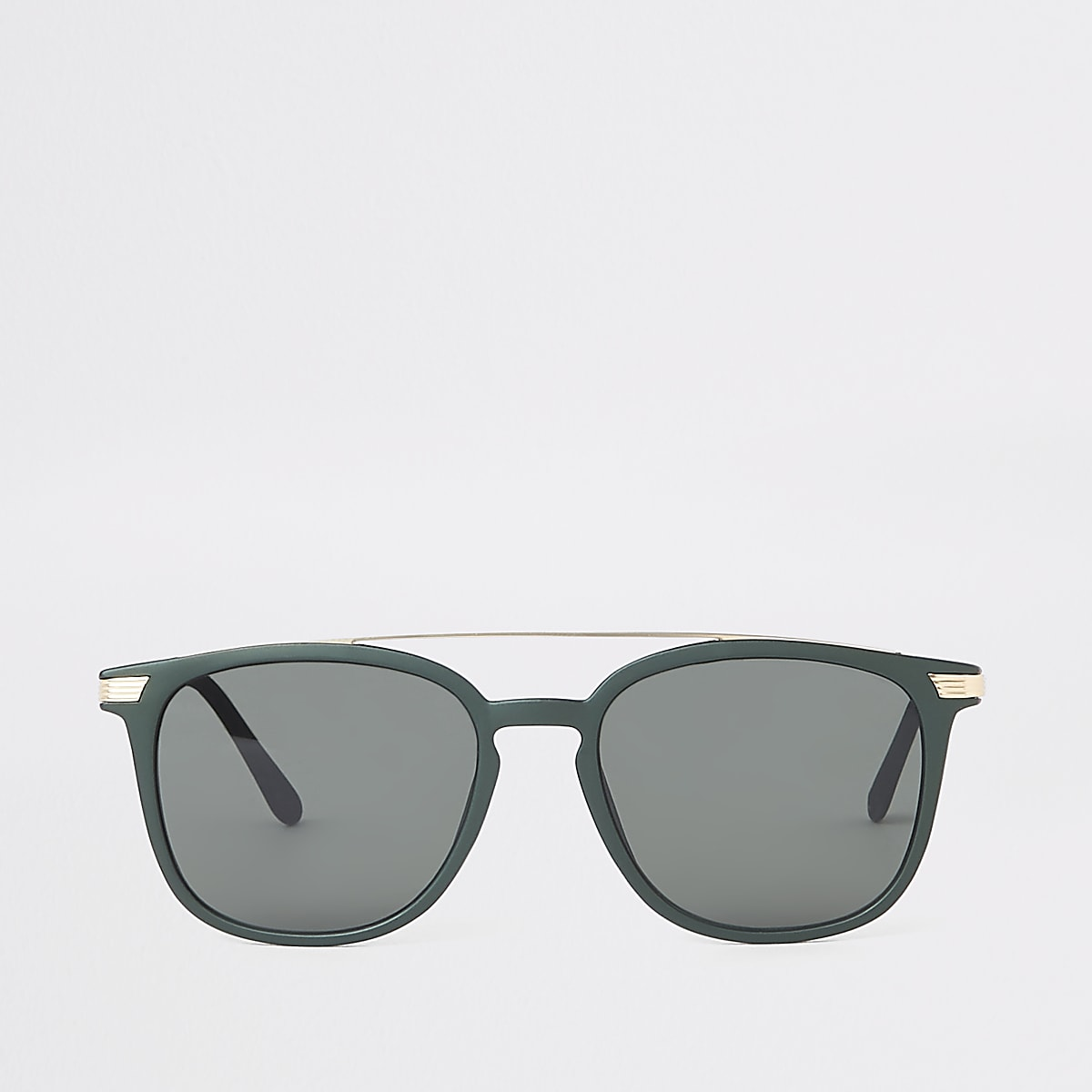 Khaki green brow bar navigator sunglasses