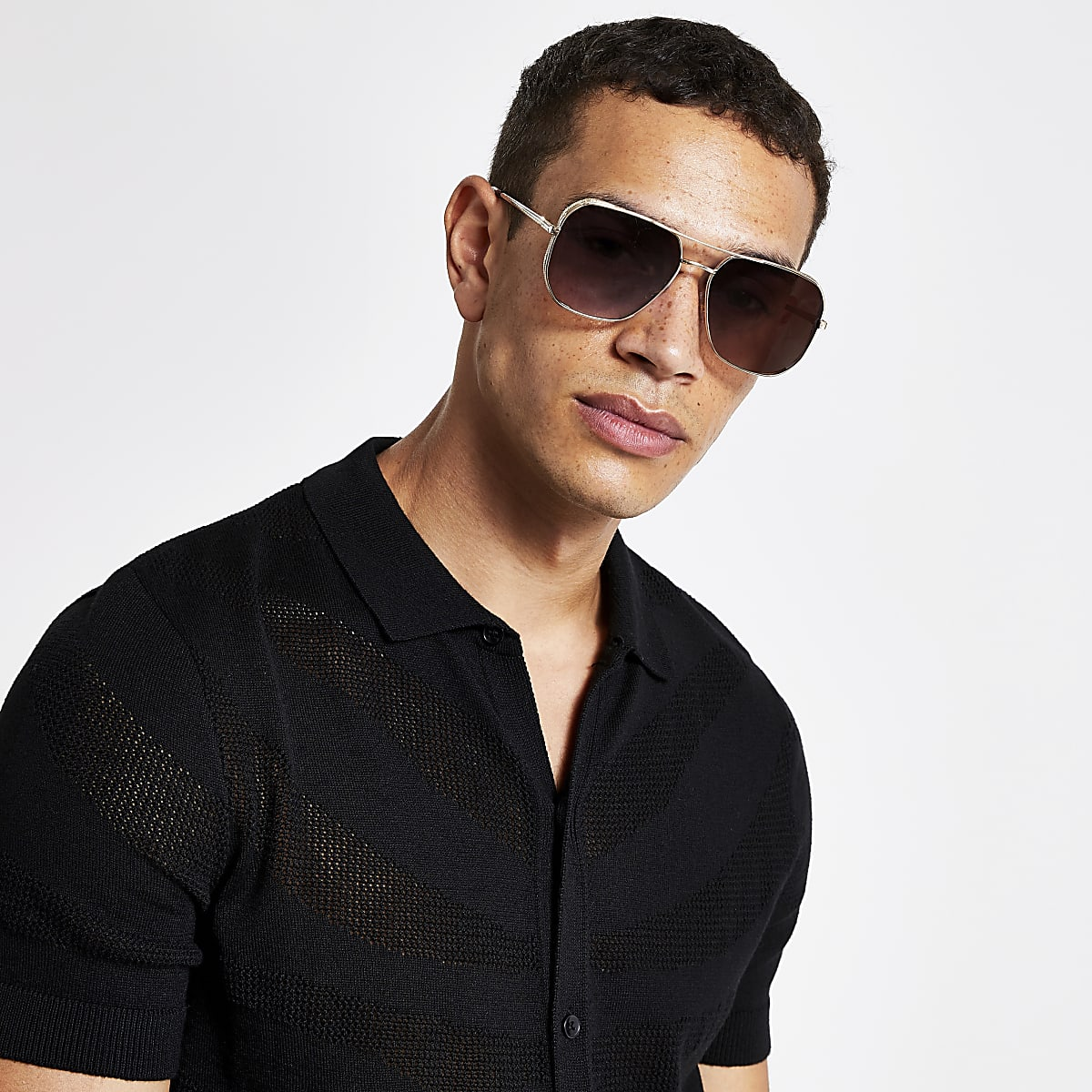 Brown gold tone retro aviator sunglasses