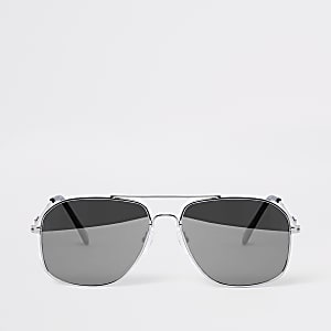 Silver tone mirror aviator sunglasses