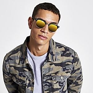 Red lens retro frame sunglasses