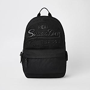 Superdry black logo backpack