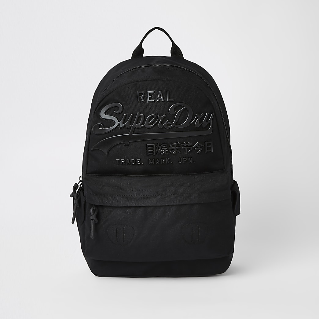 Superdry black logo backpack