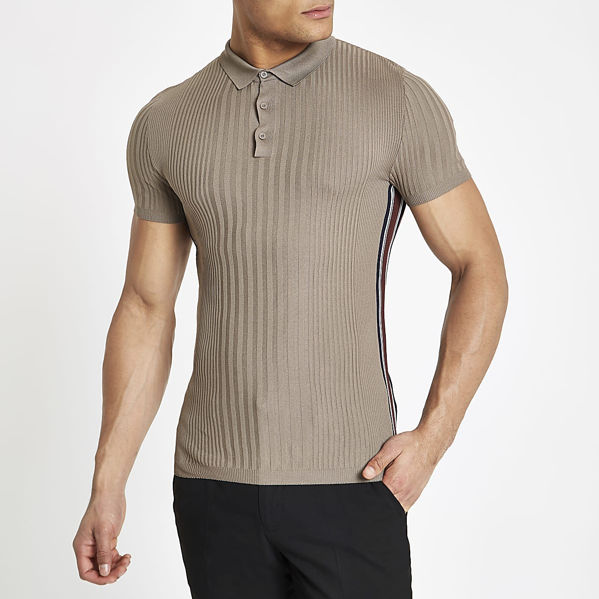 Light brown ribbed muscle fit tape polo shirt