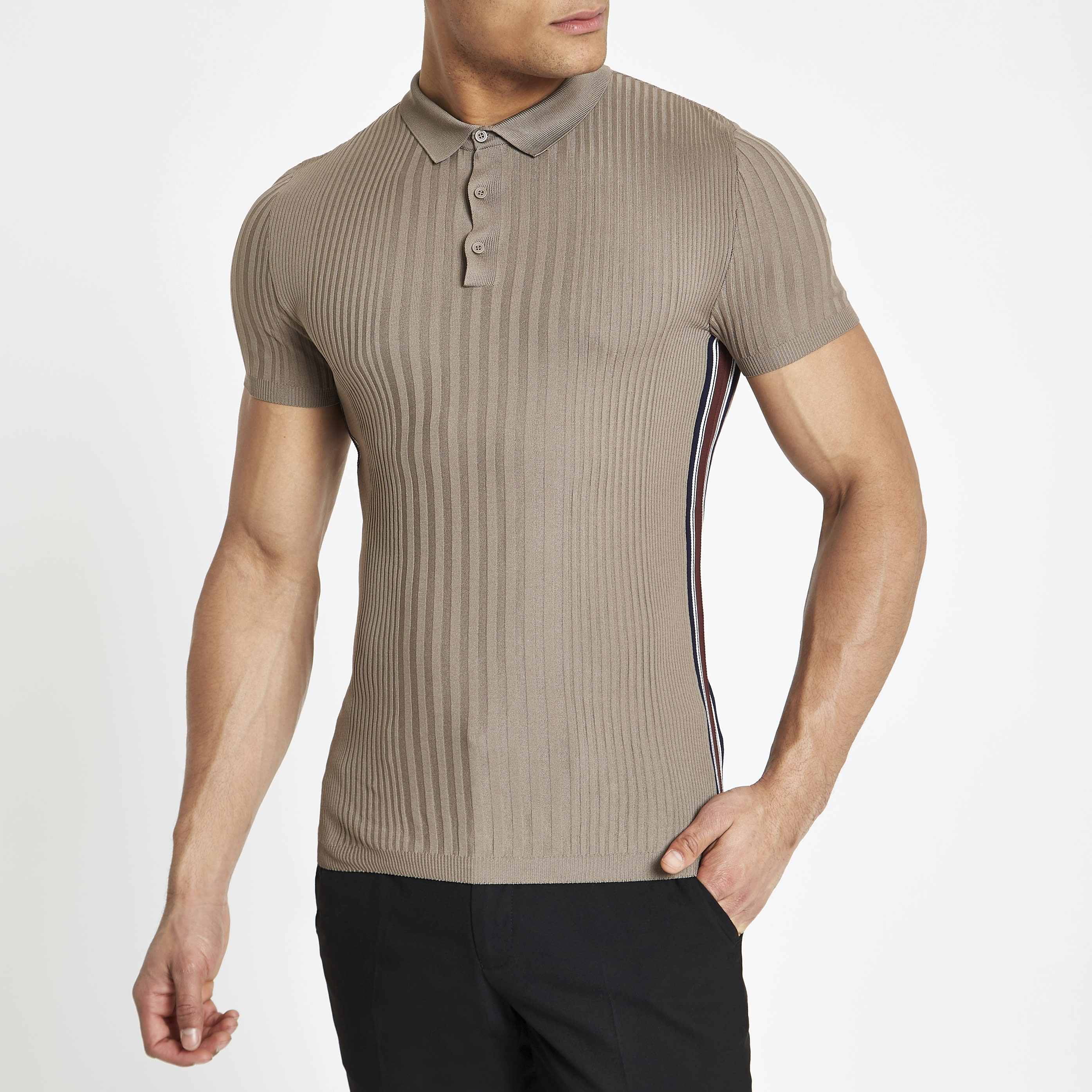 097a1a0ee Mens Light Brown ribbed muscle fit tape polo shirt | £28.00 ...