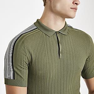 Khaki green ribbed muscle fit tape polo shirt