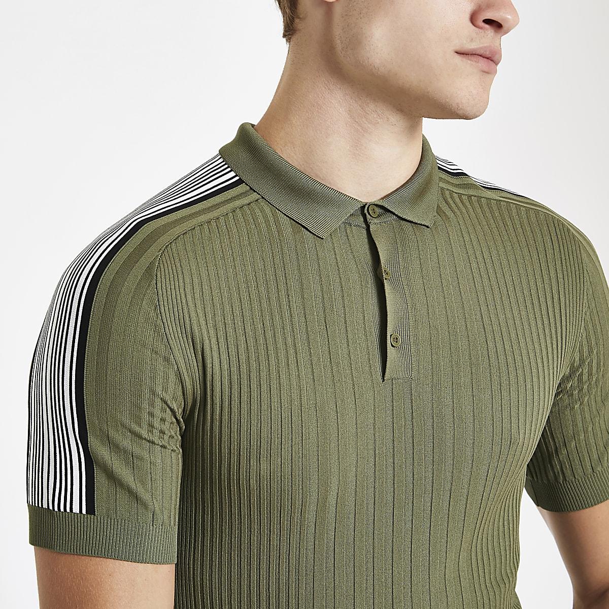 b36e6ea155cf Khaki green ribbed muscle fit tape polo shirt - Polo Shirts - men