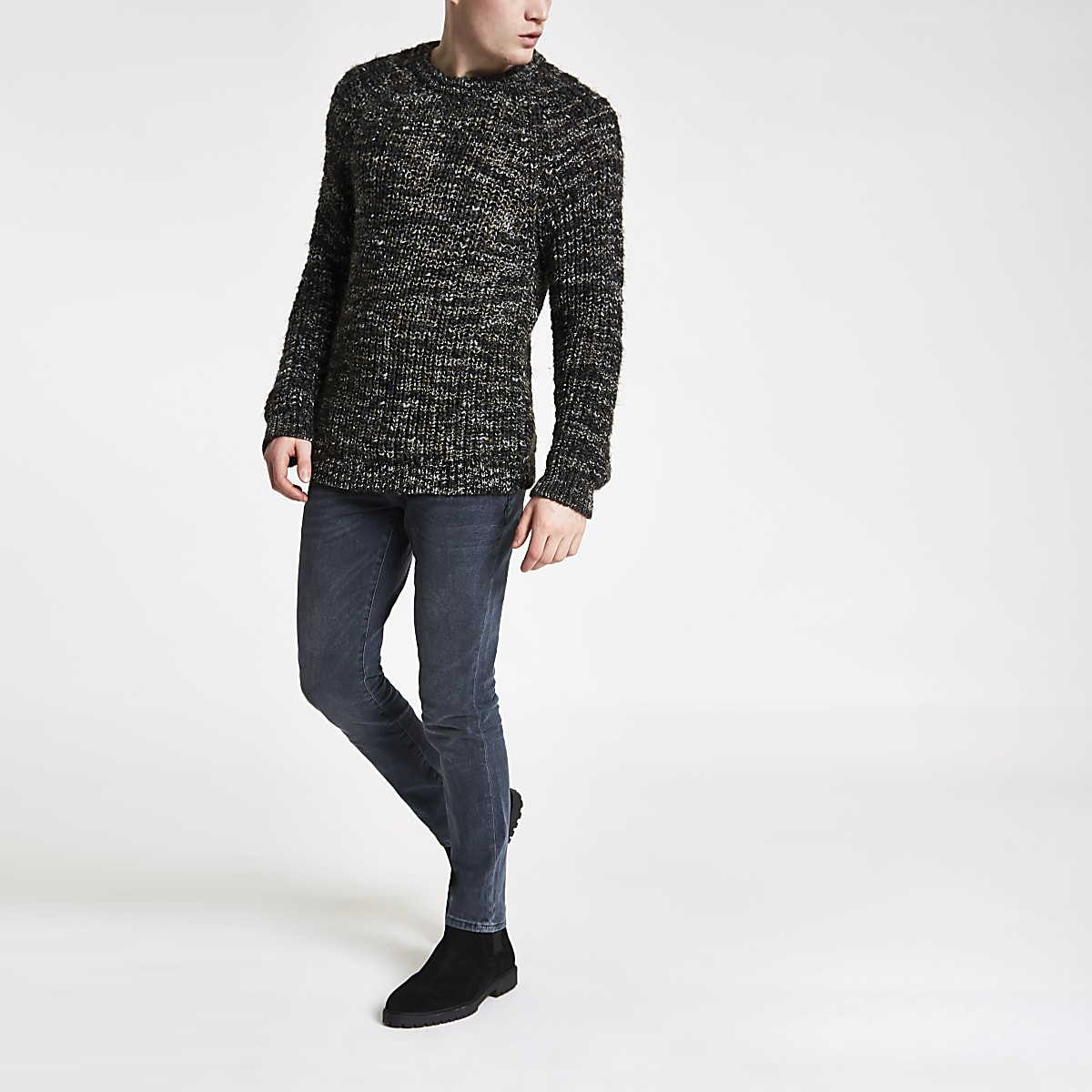 Khaki slim fit chunky twist jumper