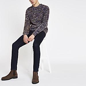 Blue slim fit chunky twist sweater