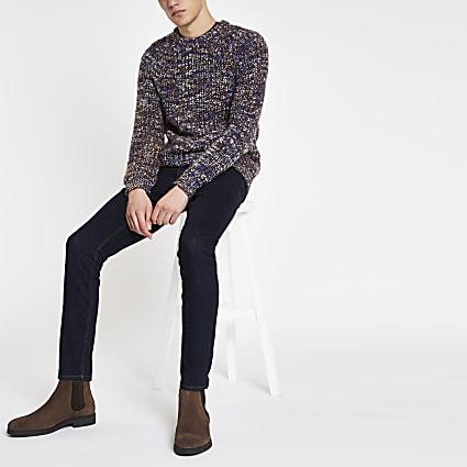 Blue slim fit chunky twist jumper