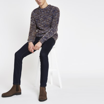 Blue slim fit chunky twist jumper
