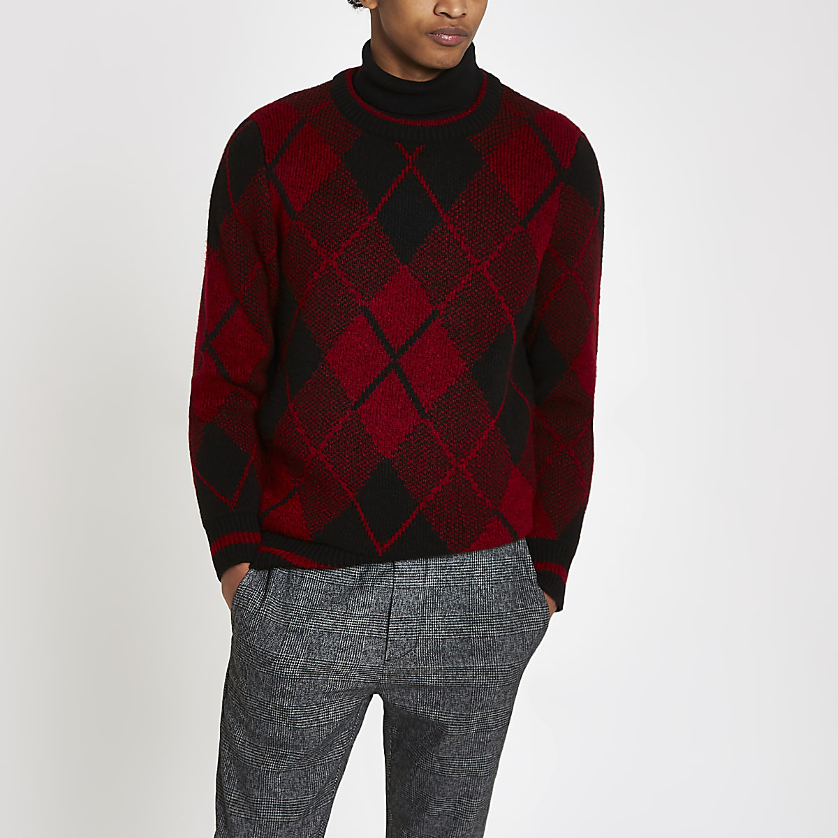 Red argyle slim fit crew neck jumper