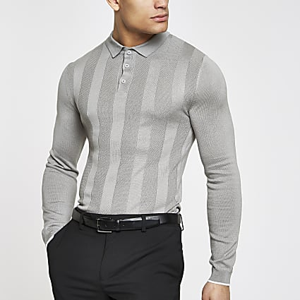 Grey muscle fit long sleeve polo shirt