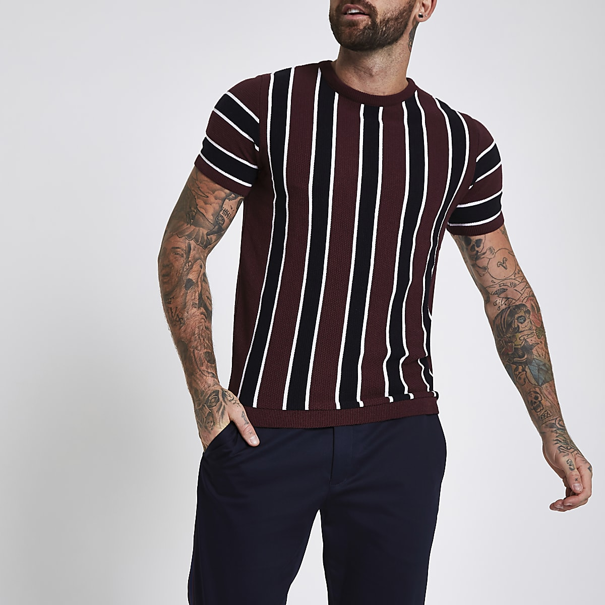 Dark red slim fit stripe T-shirt