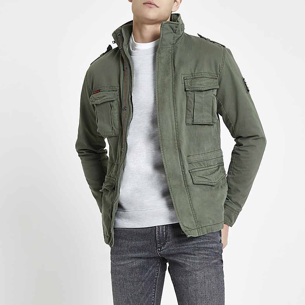 Superdry khaki classic four pocket jacket