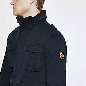 Superdry – Marineblaue Jacke mit vier Taschen