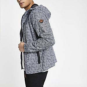 Superdry – Graue Jacke mit Logo-Print