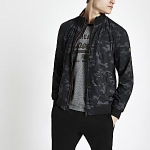 Superdry - Marineblauw harrington jack met camouflageprint