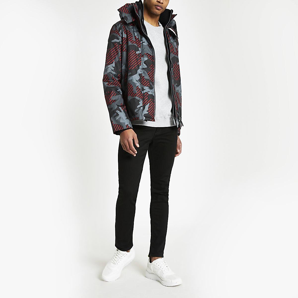 Superdry - Zwart jack met camouflageprint en capuchon