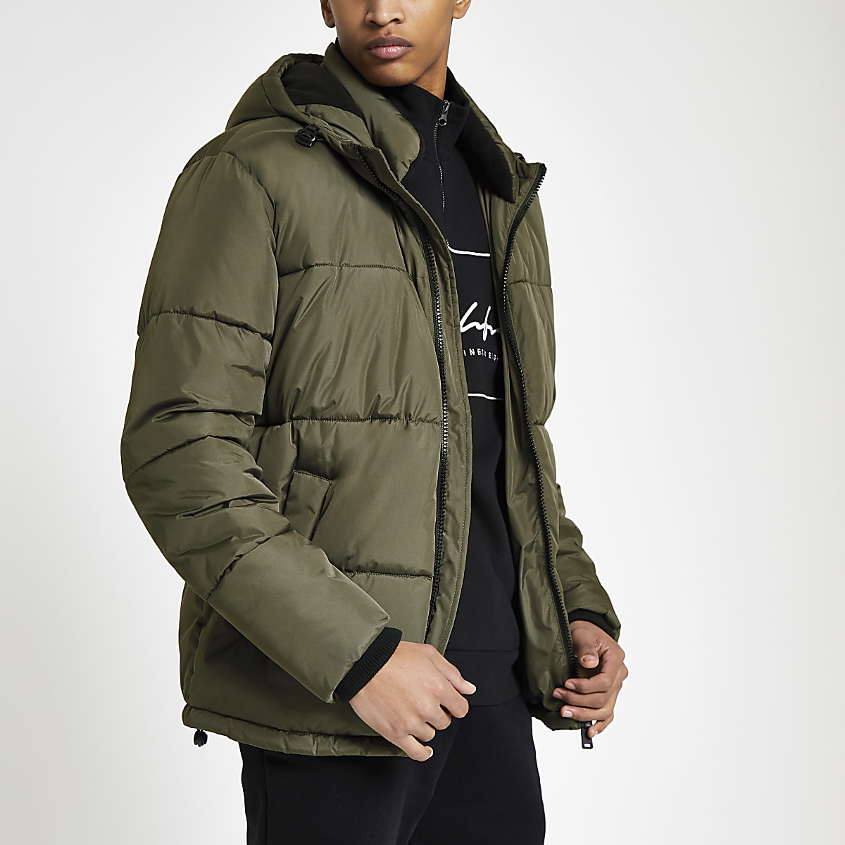 Khaki 'Prolific' hooded puffer jacket