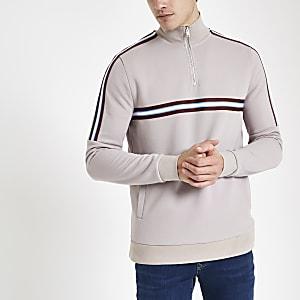 Steingraues Slim Fit Sweatshirt mit Stehkragen