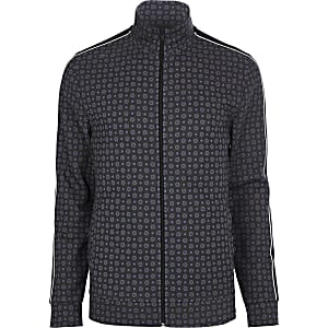 Big and Tall blue tile print track jacket