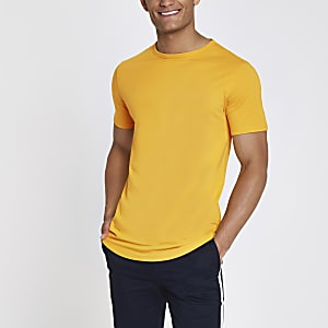 ​​Yellow curved hem longline T-shirt