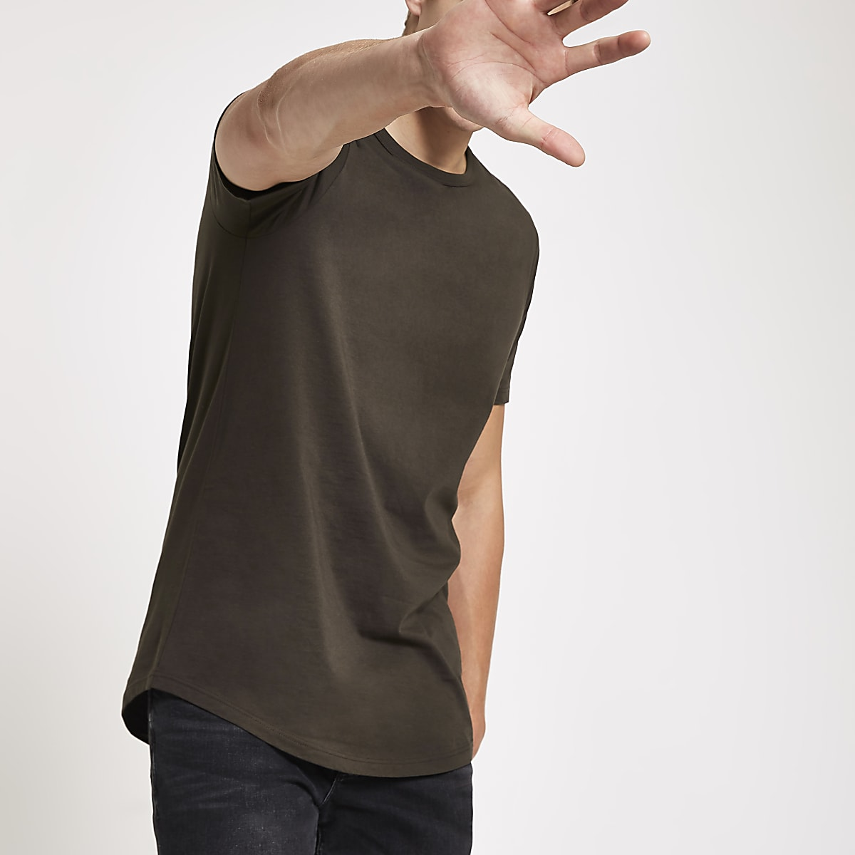 Dark brown curved hem longline T-shirt