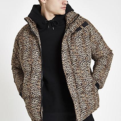 Brown leopard print puffer jacket