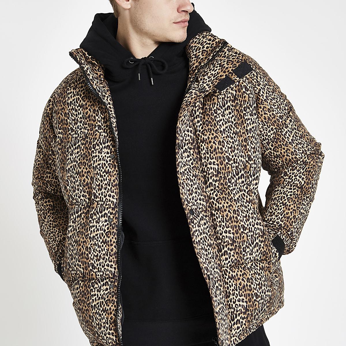 35033239f1 Brown leopard print puffer jacket - Jackets - Coats & Jackets - men