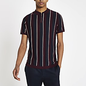 Burgundy stripe zip slim fit polo shirt