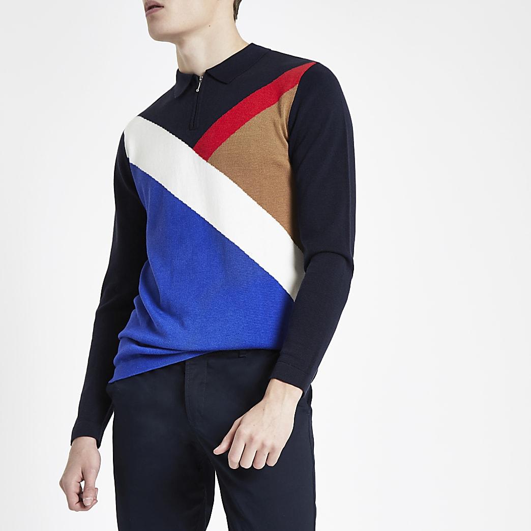 Polo slim bleu marine zippé avec empiècements colour block en diagonale