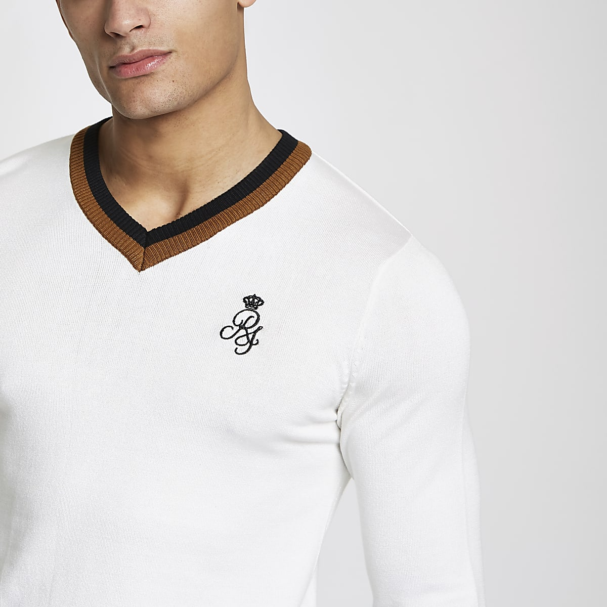 White V neck tipped muscle fit jumper