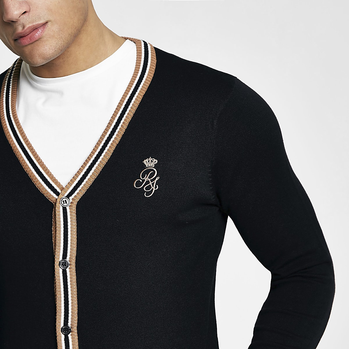 Black V neck tipped muscle fit cardigan